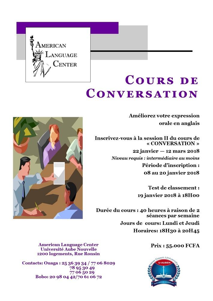 American Language Center: Inscrivez-vous à la session II du cours de «CONVERSATION»
