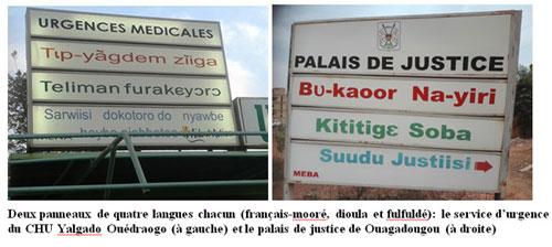 Affichages publics et gestion des langues au Burkina Faso: le cas des panneaux des services de l'Etat dans les centres urbains