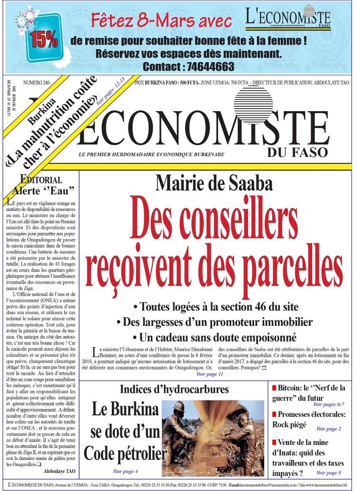 La UNE de l'Économiste du Faso numéro 240