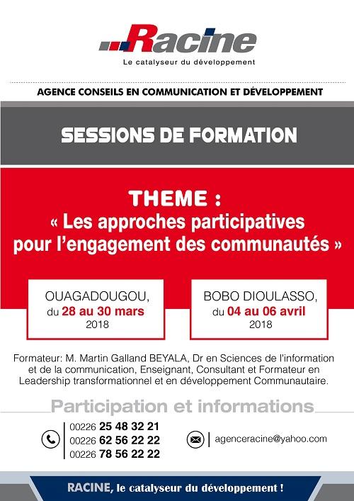 SESSION DE FORMATION: Thème: «Les approches participatives pour l'engagement des communautés»