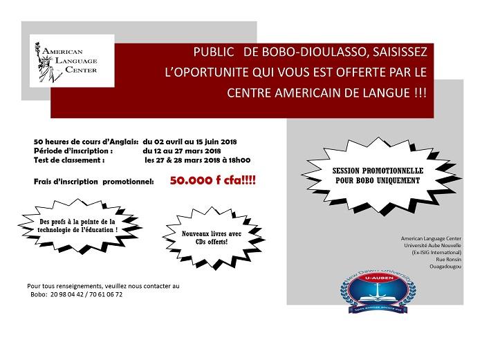 Public de Bobo-Dioulasso, saisissez l'opportunité qui vous est offerte par le centre américain de langue!!!