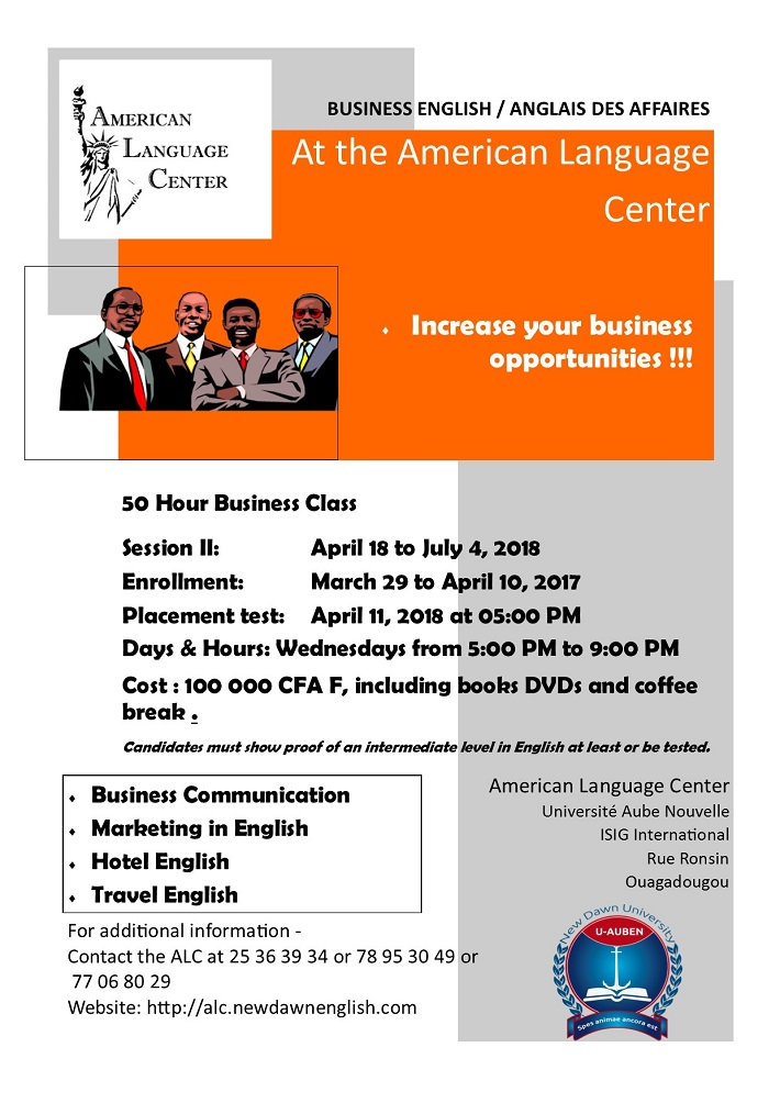 BUSINESS ENGLISH / ANGLAIS DES AFFAIRES At the American Language Center