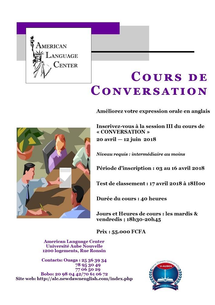 Améliorez votre expression orale en anglais: Inscrivez-vous à la session III du cours de «CONVERSATION»