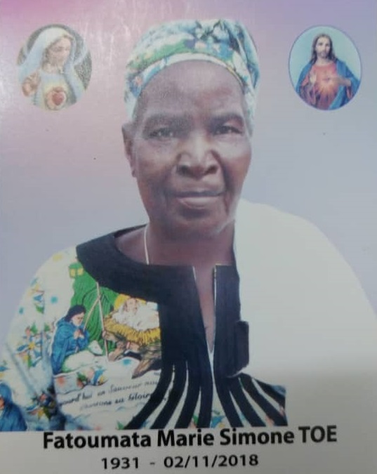 Décès  de Fatoumata Marie Simone TOE/TOE: Remerciements