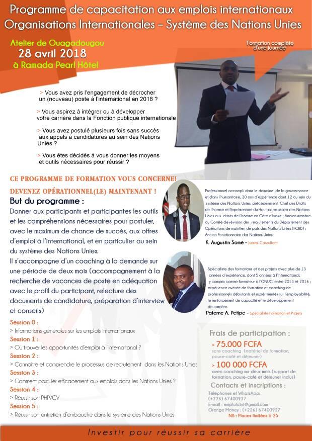 Programme de capacitation aux emplois internationaux