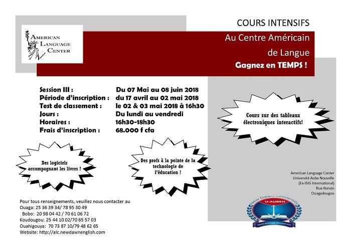 COURS INTENSIFS au Centre Américain de Langue