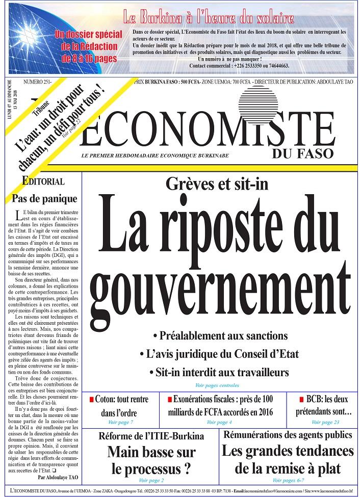 La UNE de l'Économiste du Faso numéro 251