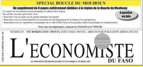 La UNE de l'Économiste du Faso numéro 254
