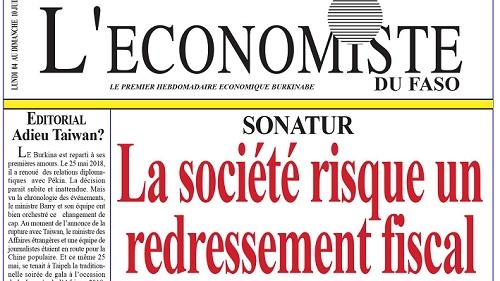 La UNE de l'Économiste du Faso numéro 255