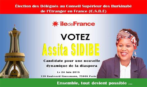 Election des délégués du Conseil Supérieur des Burkinabè de l'étranger (France): La profession de foi de Assita Sidibé