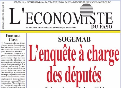 La UNE de l'Économiste du Faso numéro 258