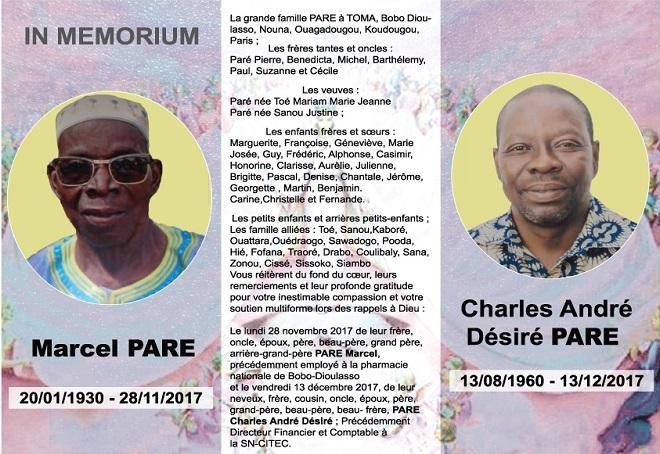 In memorium: Marcel Paré, Charles André Désiré Paré