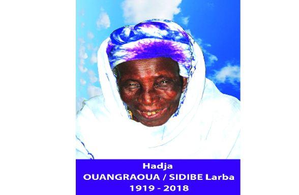 Décès  de HADJA OUANGRAOUA / SIDIBE Larba: Faire part
