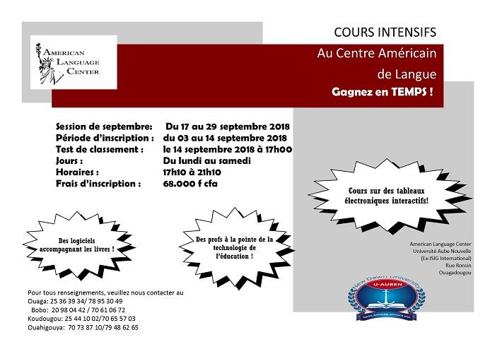 COURS INTENSIFS au Centre Américain de Langue du 17 au 29 septembre 2018