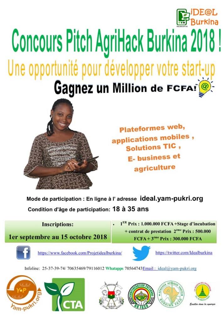 Gagnez un million de Francs CFA en vous inscrivant au Concours Pitch AgriHack Burkina 2018