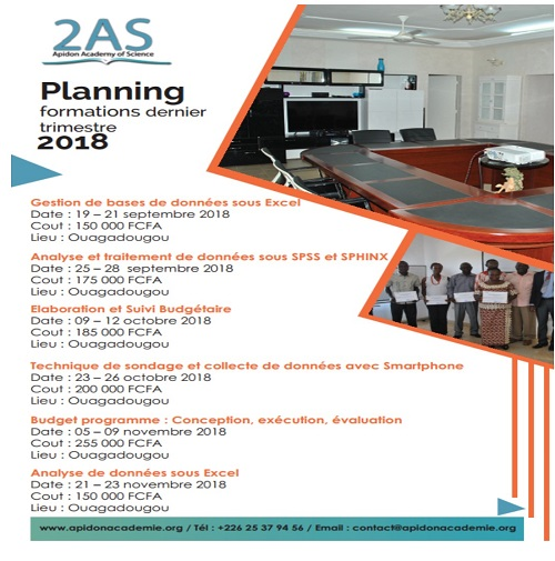 2 AS : Planning formations dernier trimestre 2018