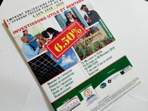 Emprunt obligataire: Le Trésor public à la recherche de 75 milliards de francs CFA