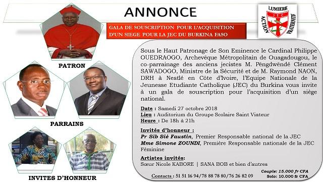 l'Equipe Nationale de la Jeunesse Etudiante Catholique (JEC) du Burkina vous invite à un gala de souscription pour l'acquisition d'un siège national