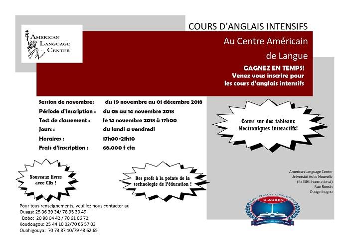 GAGNEZ EN TEMPS! Venez vous inscrire pour les cours d'anglais intensifs au centre américain de langue