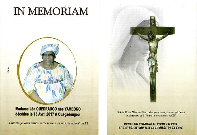 Décès de madame Léa Ouédraogo née Yaméogo: Remerciements et Faire part