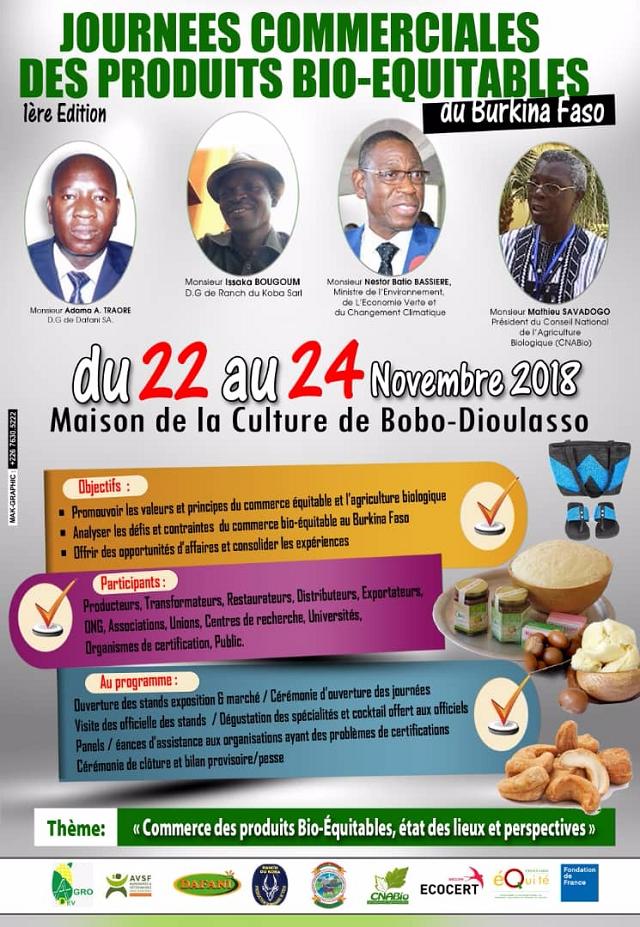 Journées commerciales des produits bio-équitables de la Plateforme Nationale du Commerce Équitable du Burkina Faso (PNCE-B)