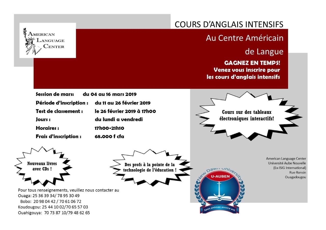 Cours d'anglais intensif au centre américain de langue du 4 au au 16 mars 2019