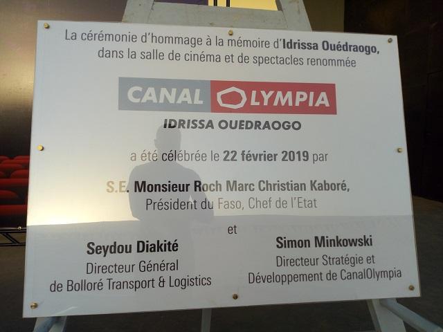 Cinéma: La salle de Pissy rebaptisée «Canal Olympia Idrissa Ouédraogo»