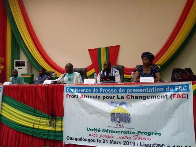 Vie des partis au Burkina: Naissance du Front africain pour le changement