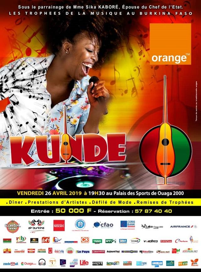 KUNDE 2019: Le vendredi 26 avril 2019 au palais des Sports de Ouaga 2000