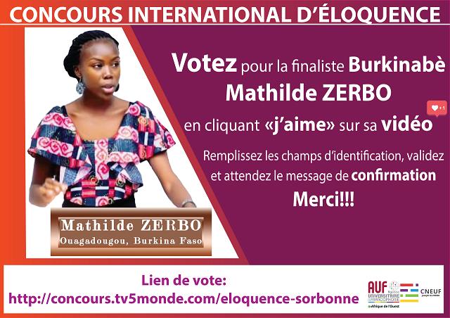 VOTEZ pour Mathilde Zerbo, finaliste du concours international d'éloquence