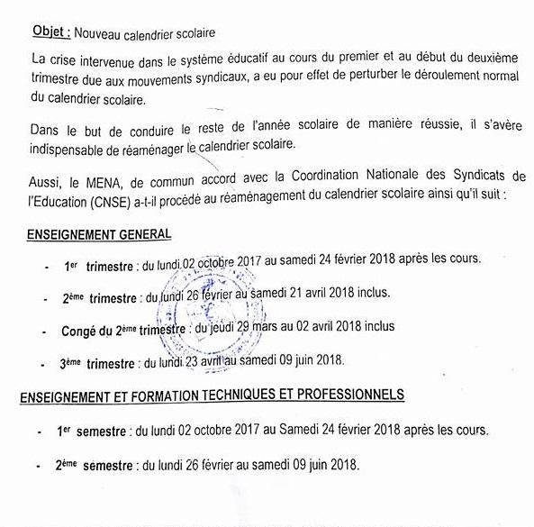 Burkina Faso Voici Le Nouveau Calendrier Scolaire 2017 2018